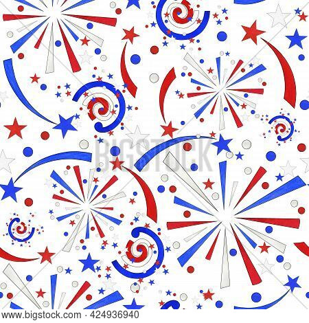 Seamless Watercolor Pattern 4th Of July Usa Independence Day With Festive Fireworks In Blue, White A