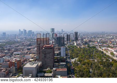 Historic Center Of Mexico City With Cbd Skyline On Avenue Paseo De La Reforma Aerial View From Torre