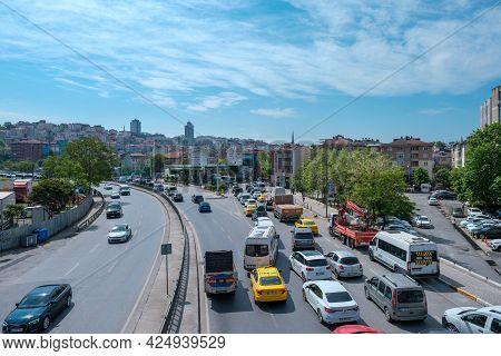 Beyoglu, Istanbul, Turkey - 05.17.2021: A Lot Of Cars Stuck Because Of Traffic Jam On Taksim And Kar