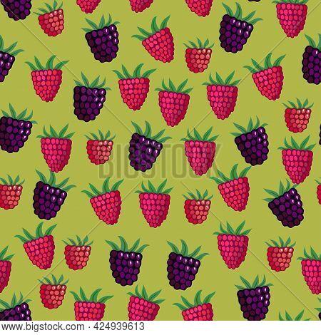 Seamless Pattern With Garden And Wild Raspberries