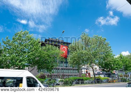Beyoglu, Istanbul, Turkey - 05.17.2021: Wide Angle View Of Double Tree By Hilton Hotel Building With