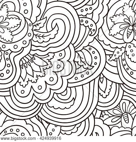 Seamless Pattern With Line Art Abstract Floral Elements