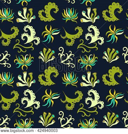 Seamless Pattern With Plants Abstract Floral Elements