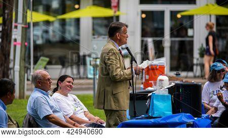WESTPORT, CT, USA - JUNE 26, 2021:  Celebrating jUNe Day in Westport near Town Library