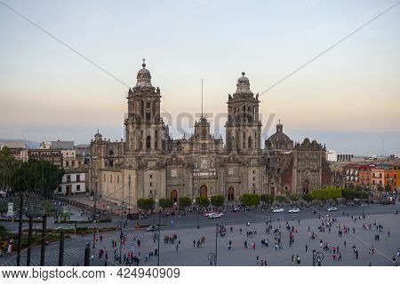 Zocalo Constitution Square And Metropolitan Cathedral At Sunset At Historic Center Of Mexico City Cd