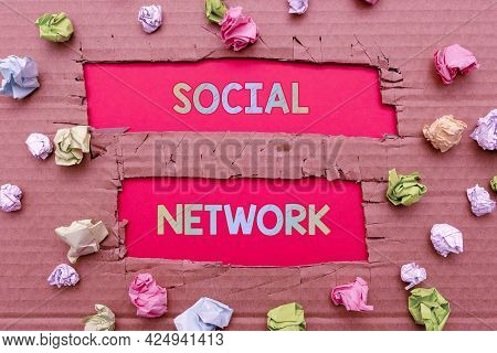 Inspiration Showing Sign Social Network. Word Written On A Framework Of Individual Linked By Interan