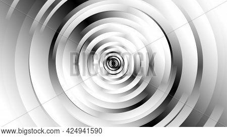 Geometric Black And White Shapes With Spinning Motion, Computer Generated. 3d Rendering Of Abstract