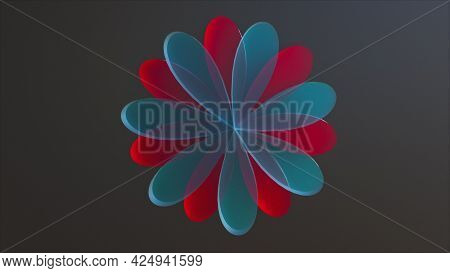 Beautiful Decoration With 3d Render Oval Petals And Round Design. Double Translucent Ornament With S
