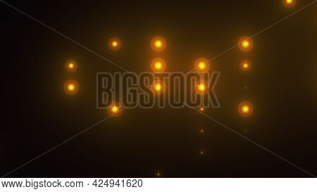 Rows Of Light Bulbs Spotlights With Random Switch On, Computer Generated Night Club Background, 3d R