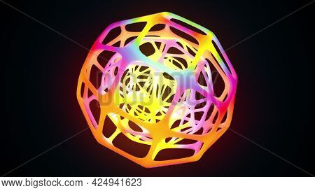 Futuristic Ball 3d Spider Web Render With Dynamic Neon Glow. Abstract Molecule Polygonal Figure With