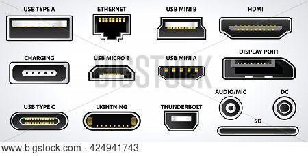 Set Of Computer Connectors Or Usb Universal Connector Symbols Or Various Usb Plug Connector Mini Mic