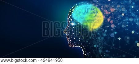 Human Head With A Luminous Brain Network. Digital Brain, Analysis Information, Cyber Mind, Deep And