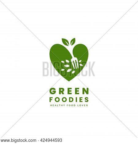 Healthy Green Vegan Food Lover Logo, Vegetarian Foodie Logo Icon