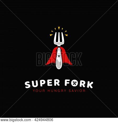 Foodie Superhero Super Fork Logo, Food And Beverage Restaurant Catering With Fork And Super Cape Ico