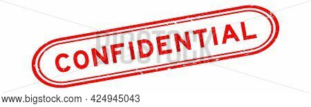 Grunge Red Confidential Word Rubber Seal Stamp On White Background