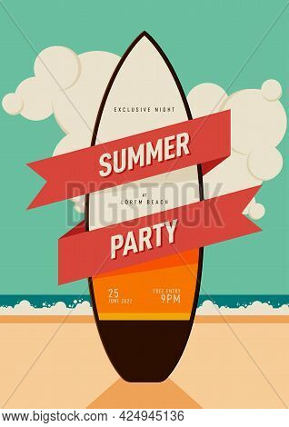 Summer Holiday Poster And Party Invitation Design Template Background Decorative With Surfboard Flat