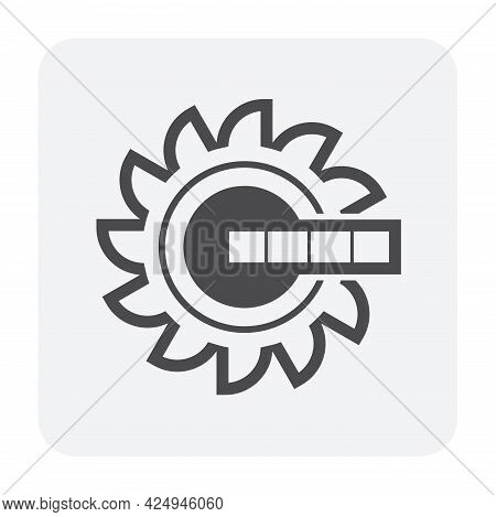 Excavator Wheel Bucket Vector Icon. Giant Digger Or Big Machine Equipment With Power And Technology