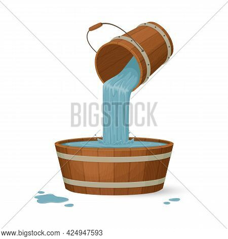 Water Pours From A Wooden Bucket Into A Basin With A Splash.cartoon Style Illustration. Vector.