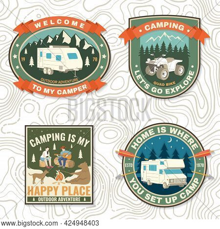 Set Of Camping Badges. Vector Patch Or Sticker. Concept For Shirt Or Logo, Print, Stamp Or Tee. Vint