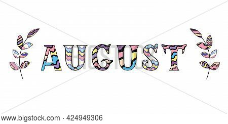 Cute Hand Written Quote Autumn In Rainbow Colors With Two Brunches Isolated On White Background. Vec