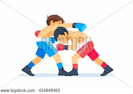 Boxing Among Young Teen. Kids Boxing, Kickboxing Children. Children Fight With These Adult Emotions.