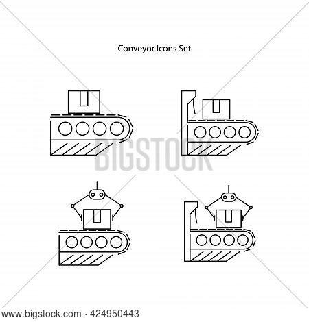 Conveyor Icons Set Isolated On White Background. Conveyor Icon Thin Line Outline Linear Conveyor Sym