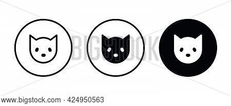 Cat Icon, Animal Icons Button, Vector, Sign, Symbol, Logo, Illustration, Editable Stroke, Flat Desig