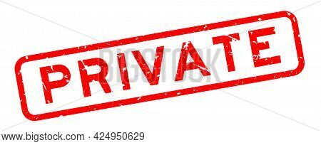Grunge Red Private Word Square Rubber Seal Stamp On White Background