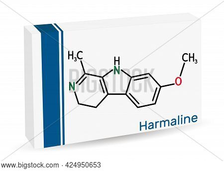 Harmaline Molecule. It Is Fluorescent Indole Alkaloid. Skeletal Chemical Formula. Paper Packaging Fo