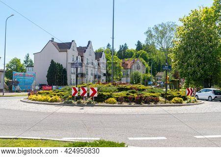 Miastko, Poland - May 31, 2021: Roundabout Of Czeslaw Dabrowski, Phd.
