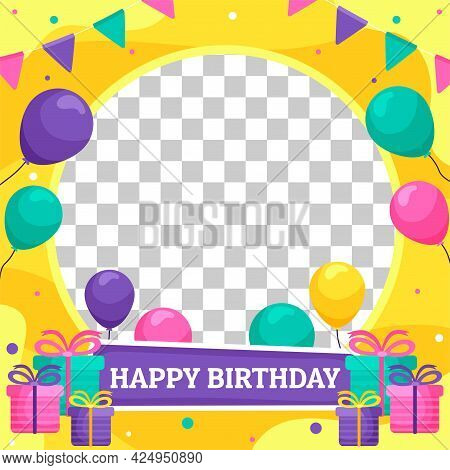 Happy Birthday Color Vector Frame. Inscription, Gifts And Sweet Candy. Photo Frame