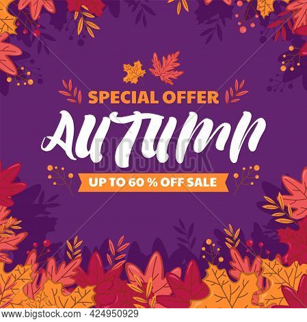 Autumn Sale Poster With Colorful Leaves.fall Sale Discount Poster Template, Vector File Included.