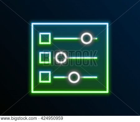 Glowing Neon Line Car Settings Icon Isolated On Black Background. Auto Mechanic Service. Repair Serv