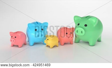 Different Piggy Banks. Colored Piggy Banks Of Different Sizes And Colors For Different Budget. 3d Re