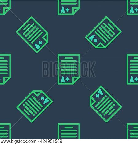 Line Exam Sheet With A Plus Grade Icon Isolated Seamless Pattern On Blue Background. Test Paper, Exa