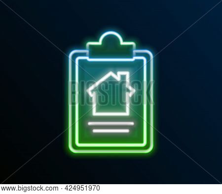 Glowing Neon Line House Contract Icon Isolated On Black Background. Contract Creation Service, Docum