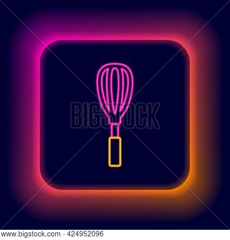 Glowing Neon Line Kitchen Whisk Icon Isolated On Black Background. Cooking Utensil, Egg Beater. Cutl