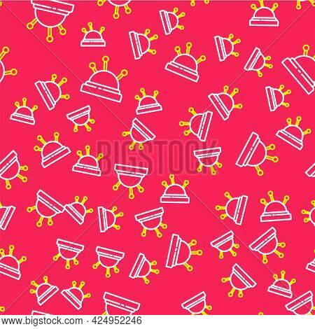Line Needle Bed And Needles Icon Isolated Seamless Pattern On Red Background. Handmade And Sewing Th