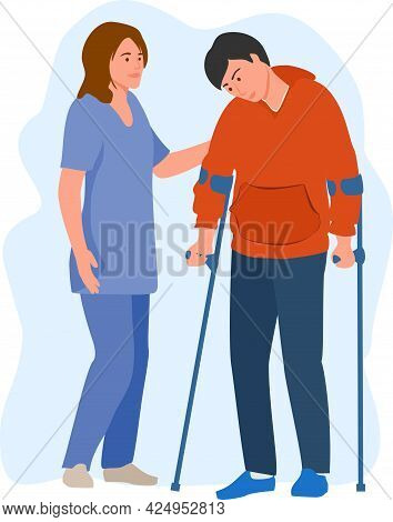 Female Doctor Physical Therapist Helping Male Patient On Crutches. A Nurse Helps A Man With Crutches