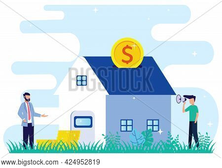 Flat Isometric Vector Illustration. Men Buy Homes On Mortgage And Pay Credit To The Bank. People Inv