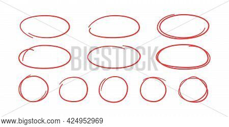 Set Of Hand Drawn Red Circles And Ovals. Highlight Circle Frames. Ellipses In Doodle Style. Vector I