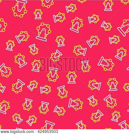 Line Ferris Wheel Icon Isolated Seamless Pattern On Red Background. Amusement Park. Childrens Entert