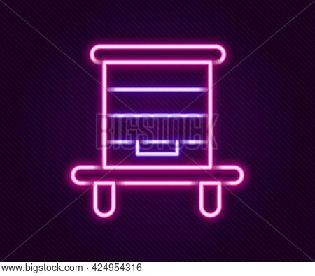 Glowing Neon Line Hive For Bees Icon Isolated On Black Background. Beehive Symbol. Apiary And Beekee