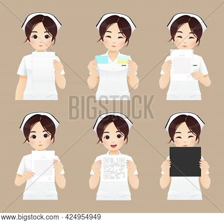 Cartoon Asian Nurse Holding Paper Or Document, Collection Of Nurse, Vector Illustration And Characte