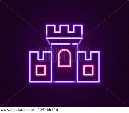 Glowing Neon Line Castle Icon Isolated On Black Background. Medieval Fortress With A Tower. Protecti