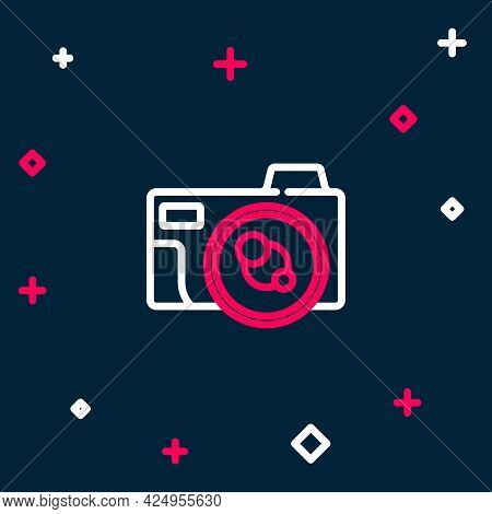 Line Photo Camera Icon Isolated On Blue Background. Foto Camera Icon. Colorful Outline Concept. Vect