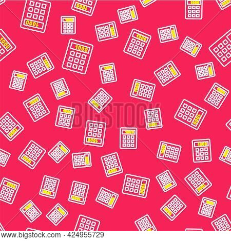 Line Calculator Icon Isolated Seamless Pattern On Red Background. Accounting Symbol. Business Calcul