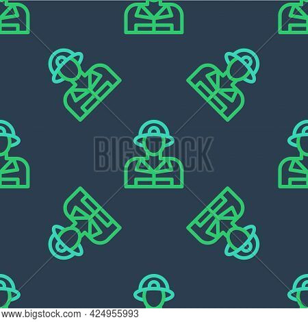 Line Firefighter Icon Isolated Seamless Pattern On Blue Background. Vector
