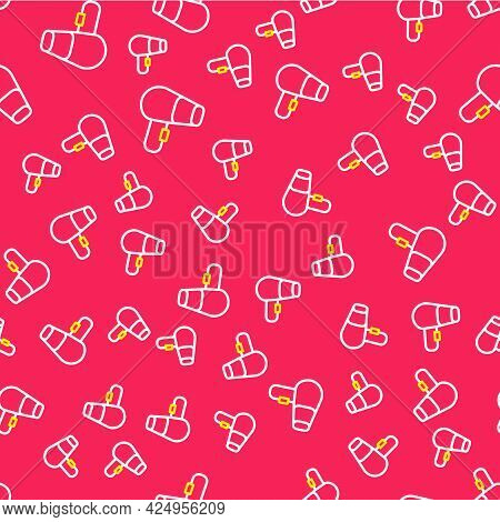 Line Hair Dryer Icon Isolated Seamless Pattern On Red Background. Hairdryer Sign. Hair Drying Symbol