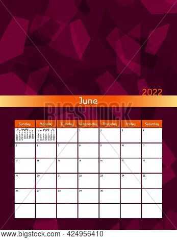 Us Letter Paper Size Vector Futuristic Monthly Planner Calendar June 2022 Week Starts On Sunday. Ver